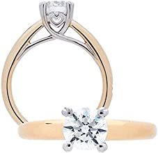 Amoro 18kt Yellow Gold Ideal Eternity Cut Diamond Solitaire Ring 096 cttw H Color VS2 Clarity