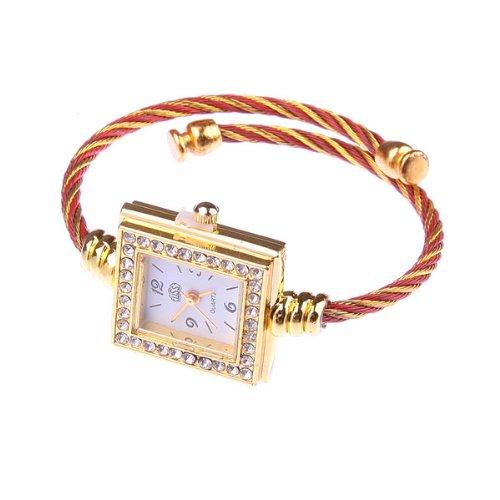 Bestdealusa Fashion Steel Wire Square Rhinestone Girl Lady Women Wrist Bracelet Watch
