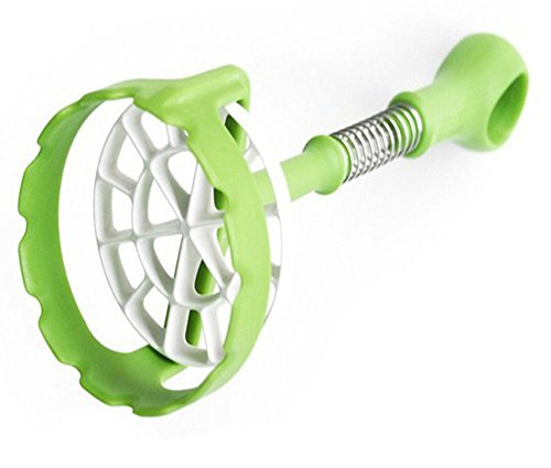 MiL Potato Masher - Most Innovative Mash Food Tool with Spring Action, Green Bra Cup Twist Top