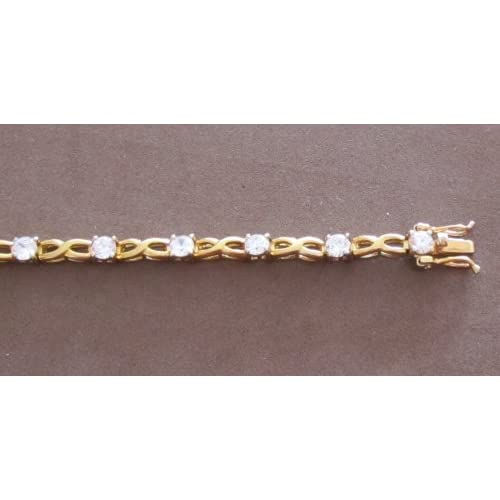 Fashion Ladies Tennis Style Bracelet Gold Tone Figure 8 Links & Cubic Zirconia Stones