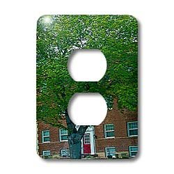 Jos Fauxtographee Realistic - A Brick Building in Cedar City, Utah With a Red Door and a Huge Green Tree In Front of It - Light Switch Covers - 2 plug outlet cover