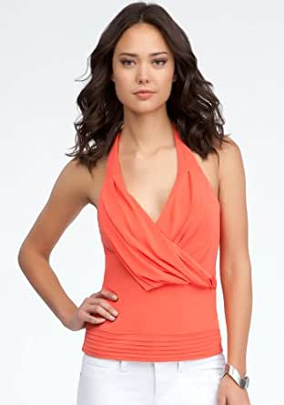 bebe Pleated Halter Top Knit Tops Hot Coral-xl at Amazon Women's