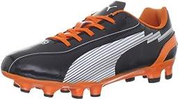Puma Evospeed 5 FG JR Soccer Cleat (Little Kid/Big Kid),Black/White/Team Orange,1.5 M US Little Kid