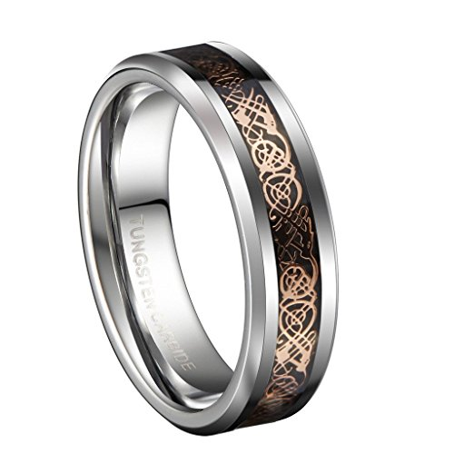 18K Rose Gold Plated Celtic Dragon 6mm Tungsten Carbide Wedding Band Ring Size 7 (Tungsten Carbide Ring Set compare prices)