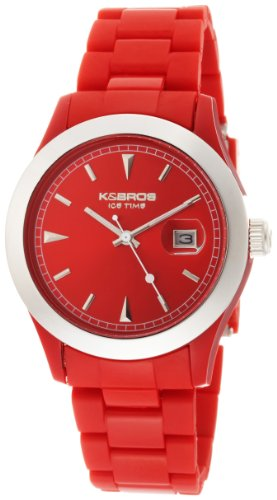 K&BROS Unisex 9541-3 Ice-Time Full Color Red Watch