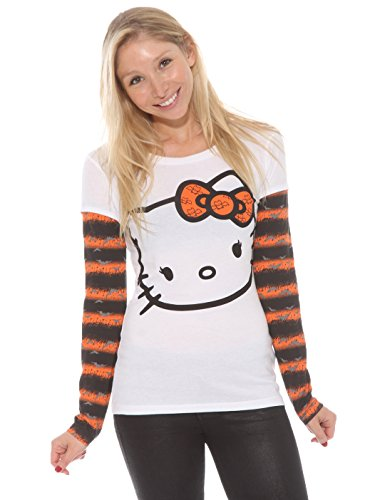 Hello-Kitty-Juniors-Halloween-Print-Layered-Long-Sleeve-T-Shirt
