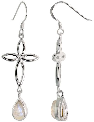 Sterling Silver Celtic Knot Cross Tear Drop Earrings w/ Natural Moonstone, 2 inch (50 mm) long