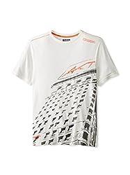 Kappa Men's AKT Vegue T-Shirt, Small, White/Dark Grey