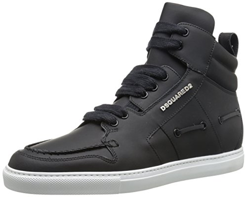 DSQUARED2 Men's Boat Vitello Gommato Fashion Sneaker, Nero, 42.5 EU/9.5 M US