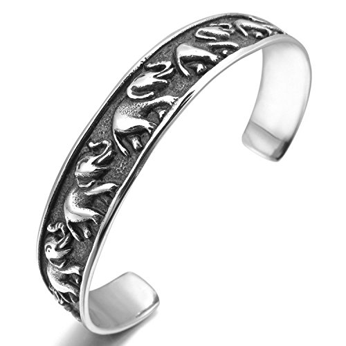 Kalendone Men,Women's Stainless Steel Bracelet Bangle Cuff Silver Black Elephant Biker,5""