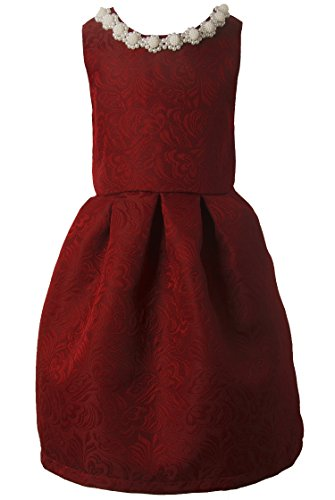Ipuang Little Girls' Lovely Pattern Dresses for Special Occasions 3t Bright Red