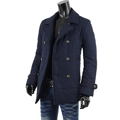 Pコート ピーコート メンズ ウール 中綿ジャケット カジュアル チェック 防寒 V261203-01 ネイビー LL