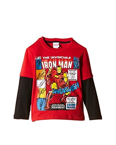 Marvel Longsleeve Invincible [Rosso/Nero]