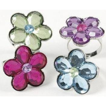 FLOWER JEWEL RING (1 DOZEN) - BULK by Fun Express