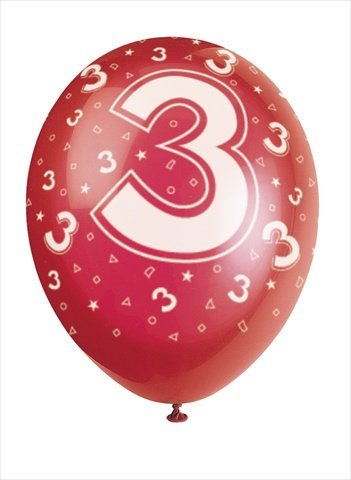 Number 3 Assorted Colored Balloons 10 Count - 1