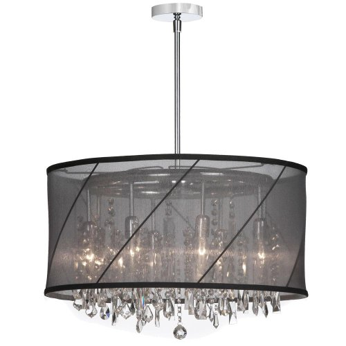 Dainolite Lighting SAF2281514 Eight Light Crystal Large Pendant, Polished Chrome
