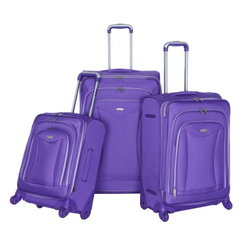 Olympia Luggage Luxe 3 Pack Set, Plum, One Size best seller