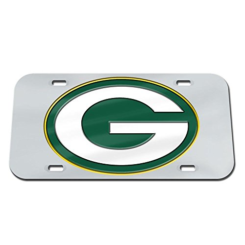Green Bay Packers Logo Silver Crystal Mirror License Plate