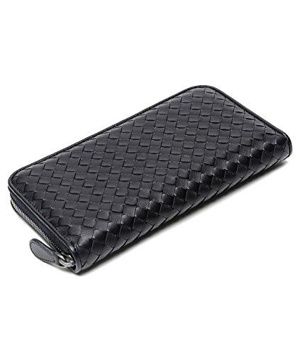 wiberlux-bottega-veneta-womens-real-leather-zippered-woven-long-wallet-one-size-dark-navy