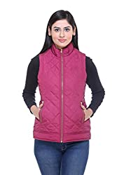 Trufit Sleeveless Solid Women's Plum Quilted Golden Zip Polyetser Bomber Polyfill jacket