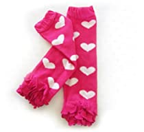 Ema Jane Baby Leggings Leg Warmers (Hearts - White Hearts on Fuchsia with Ruffle)