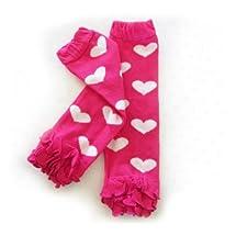 Ema Jane Baby Leggings Leg Warmers (Hearts - White Hearts on Fuchsia with Ruffle)