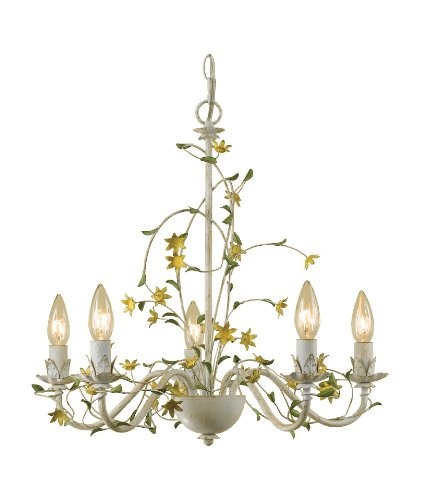 AF Lighting 7046-5H Star Flower Candle Base Chandelier, Cut Metal with Antique Cream Finish