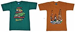 Boys T-Shirt pack of Two Round Neck - Cotton - Shorts Sleeve by Arshia Fashions