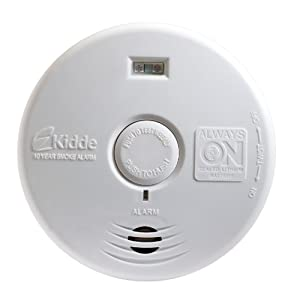 Kidde P3010H Worry-Free Hallway Photoelectric Smoke Alarm with Safety Light and 10 Year Sealed Battery