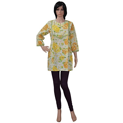 Indian Ethnic Style Casual Wear Cotton Kurta Women's Wear Floral Print Kurti Bead Work Size M Top