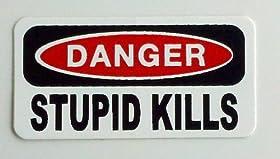 """3 - Danger Stupid Kills Hard Hat / Helmet Stickers 1"""" x 2"""""""
