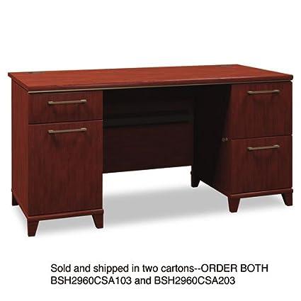Bush 2960CSA203 - Enterprise Double Pedestal Desk, 60w x 28-1/2d x 30h, Harvest Cherry, Carton 2