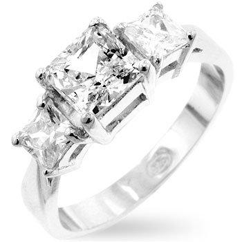 Triple Princess CZ Sterling Silver Anniversary Ring, Rhodium