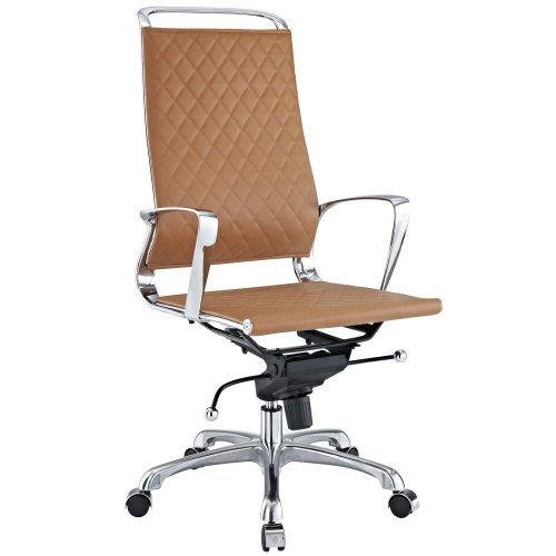 LexMod Vibe Modern Leather Highback Office Chair, Tan