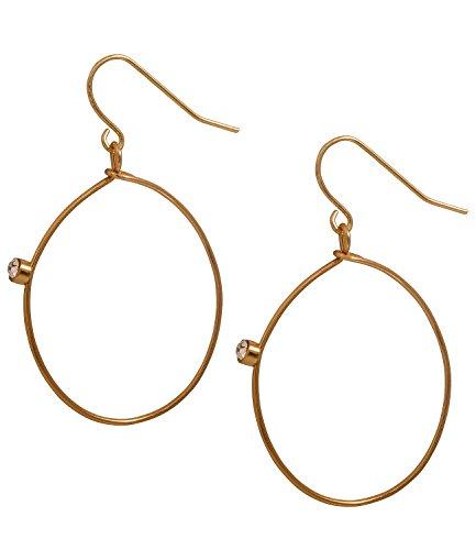 SIX runde, goldene Ohrhänger, Creolen mit einzelnem Strassstein (491-483)
