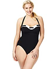 Plus Contrast Trim Ring Swimsuit