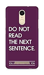 AMEZ do not read the next sentence i like you Back Cover For Xiaomi Redmi Note 3