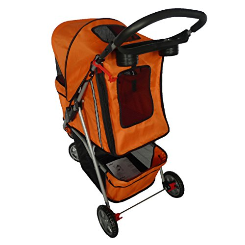 Pingkay Classic Folding 3 Wheel Pet Stroller Carrier Dog Cat Orange pet carrier bag for cat dog medium size brown
