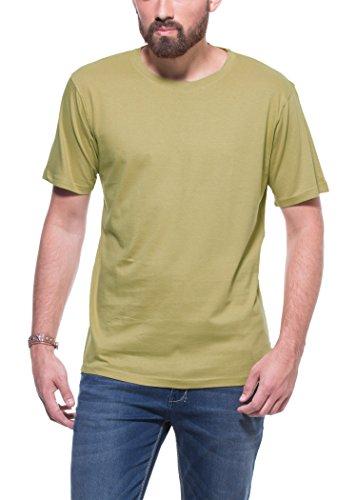 Zovi Zovi Men's Cotton Police Khaki Solid Round Neck T-Shirt (10629406501) (Multicolor)