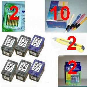 A great deal 6-pk HP 56 & HP 57 Remanufactured Combo Set - 4 Black HP 56 (C6656AN) and 2 Tri-Color HP 57 (C6657AN) compatible ink cartridges + (2) 12 digit calculator + 10 ball pen + (2) cutter, snap off, + 8-pk AA batteries, great Value........!!!!...