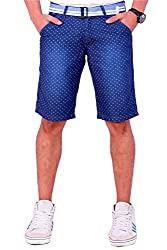 Origin Smart DBlue Casual Fix waist Patterned Cotton Shorts With Belt For Men   OR6237DBLU