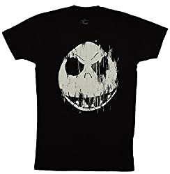 Disney Nightmare Before Christmas Jack Skellington Face T-shirt (Small, Black)
