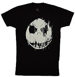 Disney Nightmare Before Christmas Jack Skellington Face T-shirt (Medium, Black)