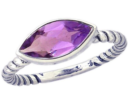 Twisted Sterling Silver Stackable Ring with East-West Large Marquis Genuine Stone-Amethyst-in full,half,quarter sizes from 3.5 to 12_3.5