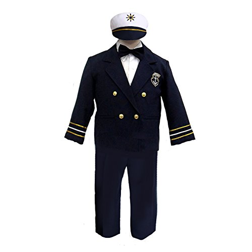 Unotux Baby Boys Toddler Navy Captain Sailor Suits Formal Party Hat Outfits S-7