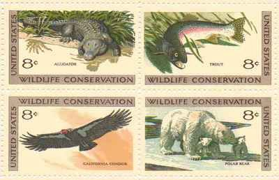 Wildlife Conservation Variety Set of 4 x 8 Cent US Postage Stamps Scot 1427-30