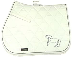 EOUS Embroidered Horse Pad (White/Grey Embroidery, AP)