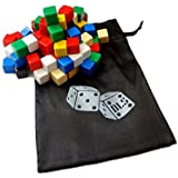 100 Assorted Blank Dice 16 mm with Storage Bag