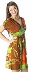 Sakkas Graphic Print Lightweight Empire Waist Cap Sleeve
