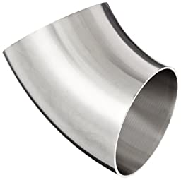 Dixon B2WK-R300P Stainless Steel 316L Sanitary Fitting, 45 Degree Polished Weld Short Elbow, 3\